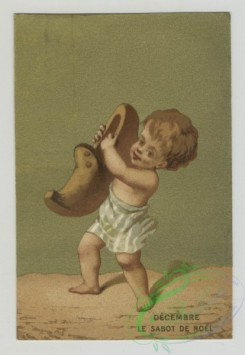 prang_cards_kids-00401 - 1476-Trade cards using months as themes depicting children-spilling wine, roasting chestnuts and with a large wooden clog , Cards depicting a girl- 101988