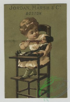 prang_cards_kids-00403 - 1478-Trade cards depicting instruments, musicians, hunting toy animals, a couple on a boat with a very long map, a large drum, children in highchairs-w 101991
