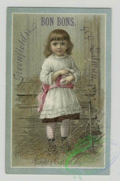 prang_cards_kids-00407 - 1482-Trade cards depicting flowers, girls, Easter eggs and a barn interior 102016