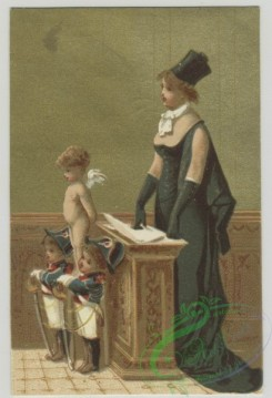 prang_cards_kids-00412 - 1498-Trade cards depicting a mother, children, angels and interior space 102094
