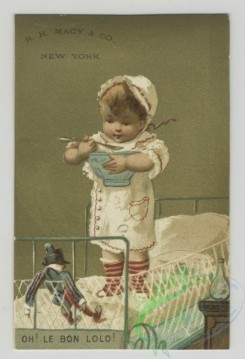 prang_cards_kids-00419 - 1516-Trade cards depicting children-eating, walking, skipping, playing with toys, carrying baskets and in cribs 102175