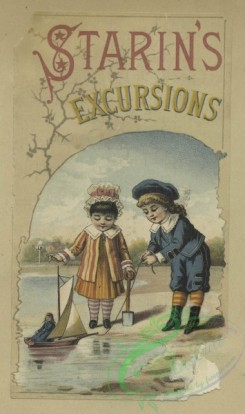 prang_cards_kids-00442 - 1653-Four virtually identical trade cards depicting girls playing with a toy boat and doll at the water's edge 102859