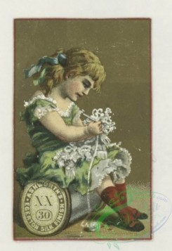 prang_cards_kids-00478 - 1777-Trade cards depicting flowers, strawberries, a turtle, a stork, thread, lily pads, a boy picking cotton and a girl sewing 103624