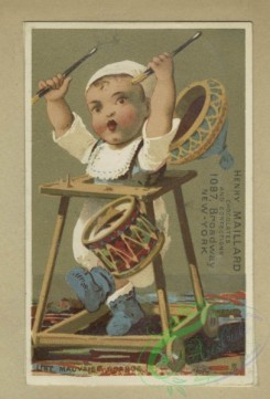 prang_cards_kids-00497 - 1796-Trade cards depicting children playing, a paper hat, sword, a drum, toys, courtship, fighting, a girl threatening to shoot a boy 103747