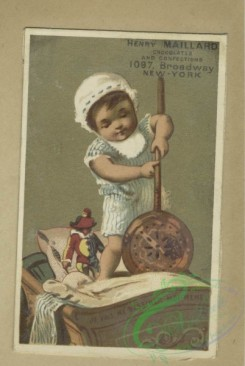 prang_cards_kids-00498 - 1796-Trade cards depicting children playing, a paper hat, sword, a drum, toys, courtship, fighting, a girl threatening to shoot a boy 103748