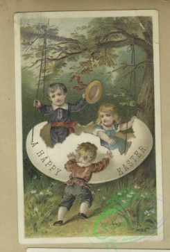 prang_cards_kids-00510 - 1800-Easter and trade cards depicting preserves, a swing made from an egg, a masquerade ball, child soldiers, wine drinking and a condemnation hearing 103782