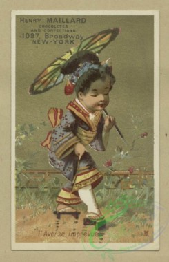 prang_cards_kids-00519 - 1806-Trade cards depicting birds, a dog, children-in kimonos, with a parasol, breaking a dish, playing the violin, blowing bubbles, making a snowman an 103838