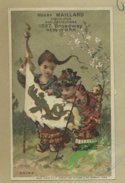 prang_cards_kids-00524 - 1807-Trade cards depicting fish, an infant sitting on top of Mars, puppets, an insect pulling a toy, children-wearing kimonos, holding a flag, playing 103843