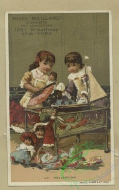 prang_cards_kids-00525 - 1807-Trade cards depicting fish, an infant sitting on top of Mars, puppets, an insect pulling a toy, children-wearing kimonos, holding a flag, playing 103844