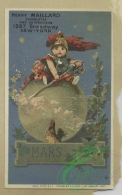 prang_cards_kids-00529 - 1807-Trade cards depicting fish, an infant sitting on top of Mars, puppets, an insect pulling a toy, children-wearing kimonos, holding a flag, playing 103848