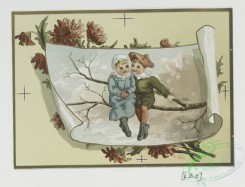 prang_cards_kids-00569 - 0410-Valentines depicting young children couples on tree branches, landscapes with crescent moons, Easter cards depicting hundreds of butterflies in flight 105621