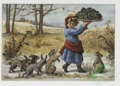 prang_cards_kids-00572 - 0449-Christmas cards depicting decorative design, children, food, birds and animals, including rabbits, dogs, cats, turkeys and owls 105897