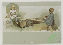 prang_cards_kids-00591 - 0508-New Year cards depicting children in various activities-fishing, archery, seesaw, sledding, with lion, umbrella, snow, Featuring astrological sign 106341