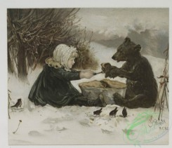 prang_cards_kids-00604 - 0553-Christmas cards depicting children with bear, rabbits, and birds, children with toys 106608
