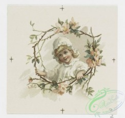 prang_cards_kids-00641 - 0671-Valentines and birthday cards depicting young girls surrounded by flower garlands, flowers with moon 107220