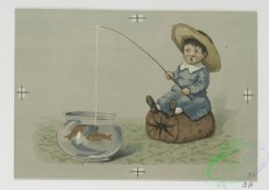 prang_cards_kids-00643 - 0704-Christmas cards depicting children, crying, fish, jam, cats, dogs, bubbles and a stove 107392