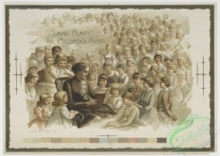 prang_cards_kids-00668 - 0863-A Louisa May Alcott calendar with the words 'Louise Alcott the children's friend,' Depicting a woman reading 'Little Women' to a large group of childr 108066