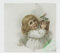 prang_cards_kids-00680 - 0999-Christmas cards depicting girls with flowers, a potted plant and a letter, a jack-o'-lantern, horns, turtles, dogs, a brick fence, cats in human situa 108575