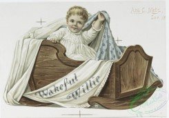 prang_cards_kids-00686 - 1148-Wakeful Willie, a cradle song-cards depicting babies, children, cradles, musical notation, cows, horses, the moon, frogs, owls, tea a lullaby and a 100528
