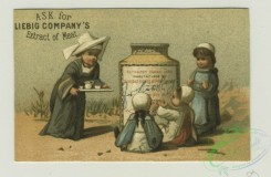 prang_cards_kids-00704 - 1401-Trade cards depicting flowers, cupids, children with large jars of meat-eating on a tightrope, being served by a woman, and on a rock in the ocean 101629