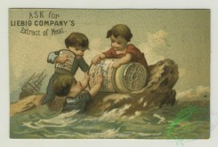 prang_cards_kids-00705 - 1401-Trade cards depicting flowers, cupids, children with large jars of meat-eating on a tightrope, being served by a woman, and on a rock in the ocean 101632