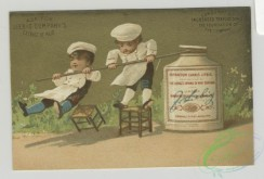 prang_cards_kids-00727 - 1495-Trade cards depicting jars of meat, chefs, women, a cannon, and men with jar bodies 102076