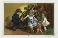 prang_cards_kids-00744 - 0072-Easter cards depicting young girl with eggs , Christmas cards depicting children playing around tree 107514