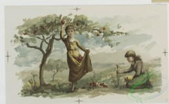 prang_cards_kids-00776 - 0641-Christmas cards depicting tree branches, people picking fruit and flowers, children throwing snowballs, girl with lamb 107079