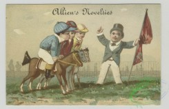 prang_cards_kids-00801 - 1493-Trade cards depicting children dressed as jockeys with fake horses, and lessons for children 102068
