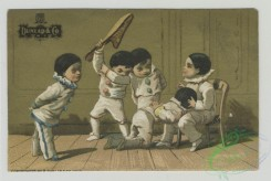 prang_cards_kids-00807 - 1528-Trade cards depicting St, Patrick's Cathedral, landscape views of a meadow, bridge and river, boys dressed in costume doing acrobatics and paddling a 102224