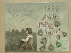 prang_cards_kids-00812 - 1615-Trade and 1889 New Year cards depicting birds, water, children, fields, bells, flowers, boats and a card shaped like a paint palette depicting flowers 102608