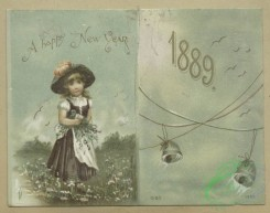 prang_cards_kids-00813 - 1615-Trade and 1889 New Year cards depicting birds, water, children, fields, bells, flowers, boats and a card shaped like a paint palette depicting flowers 102609