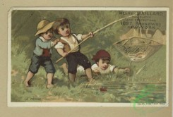 prang_cards_kids-00820 - 1667-Trade cards depicting birds, cows, a woman holding a mask, children fishing with a net, children eating and drinking on a boat and cupid presenting a 102931