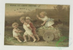 prang_cards_kids-00824 - 1767-Trade cards depicting children, Asians, flowers, a stork, a wheelbarrow, a baby floating in a basket and miniature people opening a book 103561