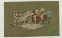 prang_cards_kids-00825 - 1767-Trade cards depicting children, Asians, flowers, a stork, a wheelbarrow, a baby floating in a basket and miniature people opening a book 103562