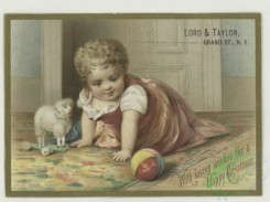 prang_cards_kids-00830 - 1782-Christmas and trade cards depicting flowers, holly, birch bark, bees, toys, a woman with a net and a baby crawling 103663