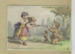 prang_cards_kids-00844 - 1796-Trade cards depicting children playing, a paper hat, sword, a drum, toys, courtship, fighting, a girl threatening to shoot a boy 103750