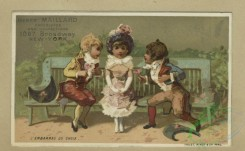 prang_cards_kids-00845 - 1796-Trade cards depicting children playing, a paper hat, sword, a drum, toys, courtship, fighting, a girl threatening to shoot a boy 103751