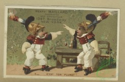 prang_cards_kids-00863 - 1800-Easter and trade cards depicting preserves, a swing made from an egg, a masquerade ball, child soldiers, wine drinking and a condemnation hearing 103789