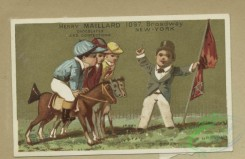 prang_cards_kids-00889 - 1804-Trade cards depicting boys-with a scarecrow, with wooden horses, standing on his head and with a rifle 103815