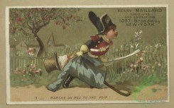 prang_cards_kids-00894 - 1804-Trade cards depicting boys-with a scarecrow, with wooden horses, standing on his head and with a rifle 103820
