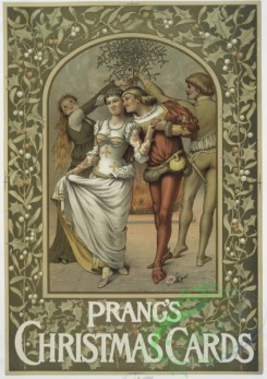 prang_cards_people-00010 - 0590-(A poster with the words 'Prang's Christmas Cards,' depicting four performers, holly, a fireplace and a rose.) 106843