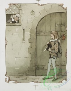 prang_cards_people-00027 - 1169-The man without a heart, The plight of a princess (title pages and depictions of men speaking inside a home, a traveling boy talking to a woman from 100603