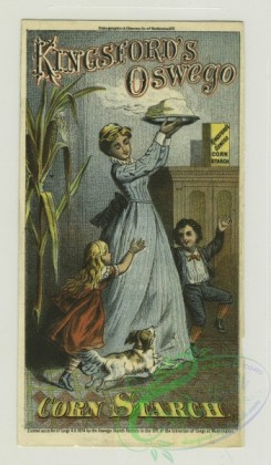prang_cards_people-00043 - 1311-Trade cards depicting women baking, baking powder, corn starch, biscuits being pulled from the oven, a woman carrying steaming food and being followed 101179