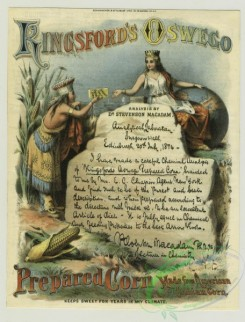 prang_cards_people-00050 - 1326-(A trade card depicting a queen, a globe, corn, a handwritten doctor's analysis of corn starch, a box of corn starch and a Native American woman.) 101249