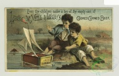 prang_cards_people-00055 - 1357-Trade cards depicting men carrying boxes of Sea Foam, boys playing with a toy sailboat made from a box, an eagle, a lion, sailors and passengers onboa 101360