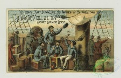 prang_cards_people-00056 - 1357-Trade cards depicting men carrying boxes of Sea Foam, boys playing with a toy sailboat made from a box, an eagle, a lion, sailors and passengers onboa 101362