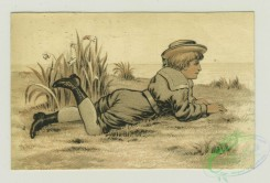 prang_cards_people-00058 - 1361-Trade cards depicting children laying in the grass, a horse race, a lamb, an American flag and children watering flowers 101389