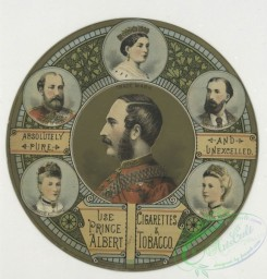 prang_cards_people-00059 - 1367-(A circular trade card with decorative ornamentation, depicting royalty-Prince Albert, Prince of Wale, Princess Alexandria, Princess Royal and the 101420
