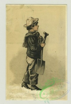 prang_cards_people-00061 - 1377-Trade cards depicting a boy in the snow with a shovel, a boy warming by a heater, a woman looking in a mirror, a woman holding a baby, The versos dep 101479